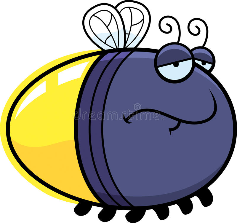 Sad Cartoon Firefly. A cartoon illustration of a firefly with a sad expression vector illustration