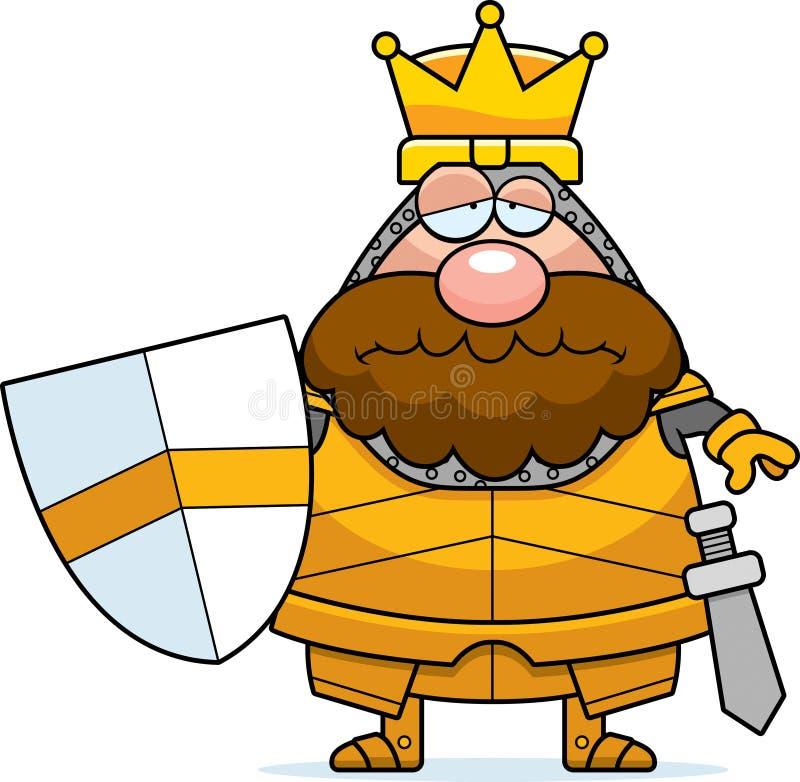 Sad Cartoon King. A cartoon illustration of a king in armor looking sad stock illustration