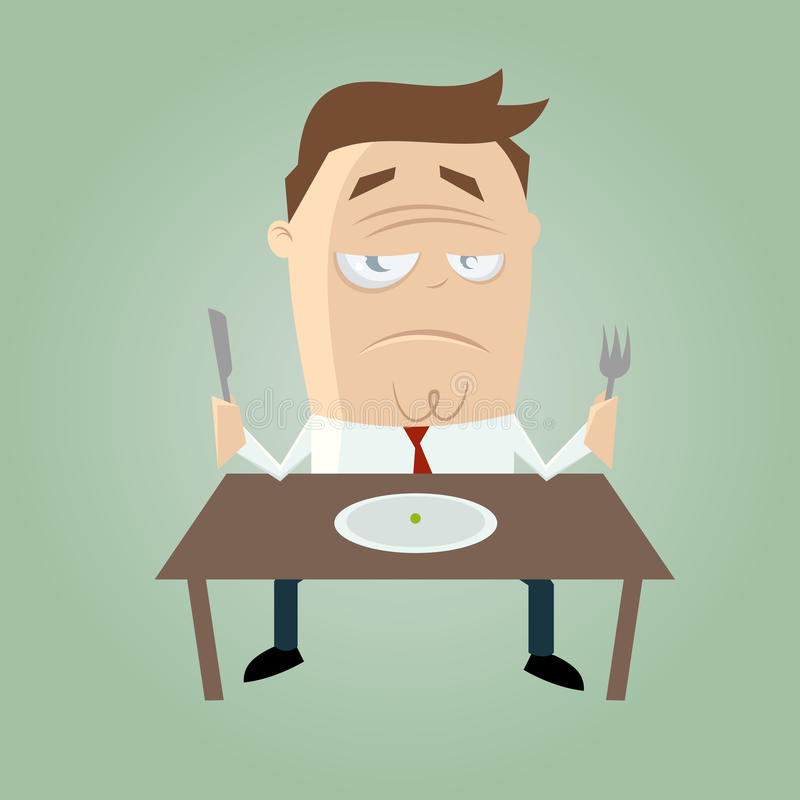 Download Sad cartoon man on diet stock vector. Image of fork, table - 33361004