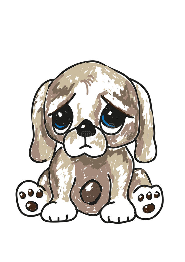 Sad cartoon puppy stock illustration