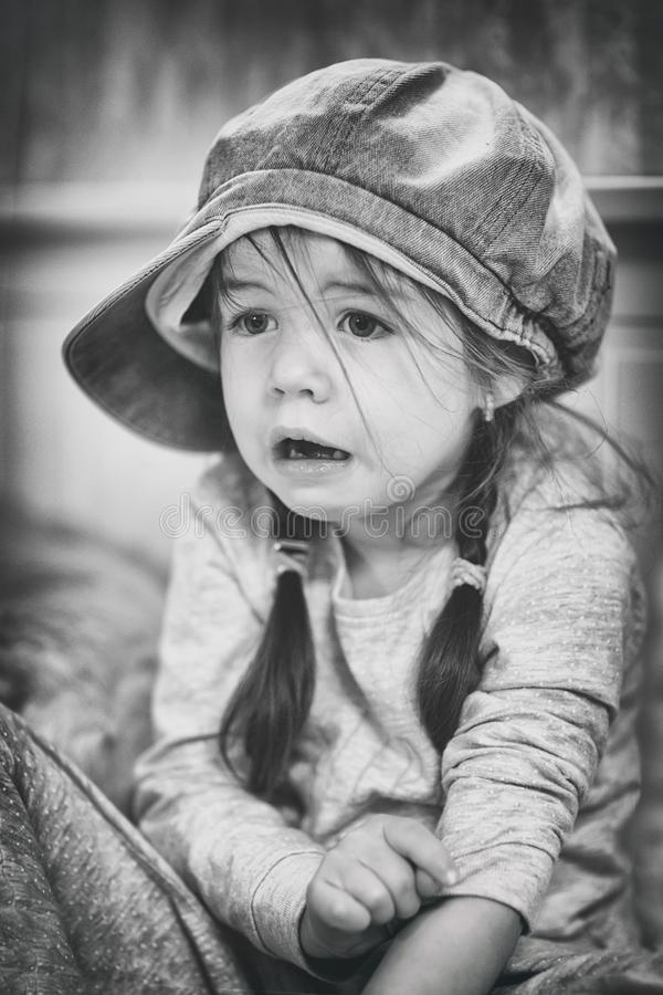 Download Sad Child, Black-white, SufferingLittle Girl With Fear In The Face Stock Photo - Image of face, fear: 106854834