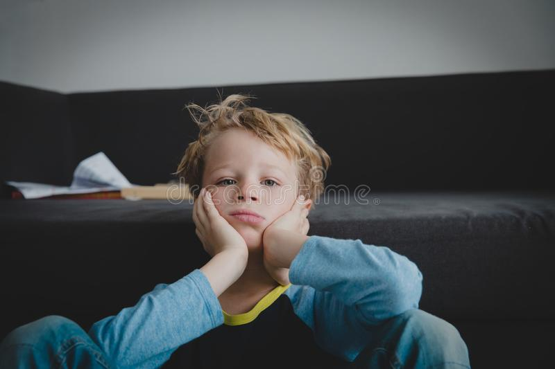 Sad child, stress and depression, anxiety, exhaustion. Sad child, stress and depression, anxiety, kids exhaustion overload stock photo