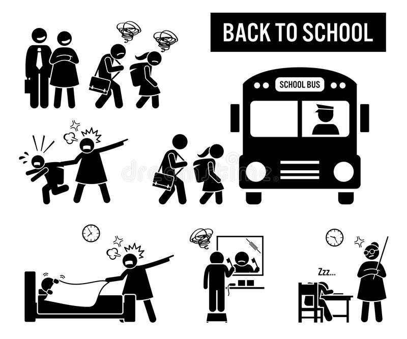 Sad children back to school. Stick figure pictogram depicts school children going back to school. The parent are happy, but the kids are sad. Icon set also show stock illustration