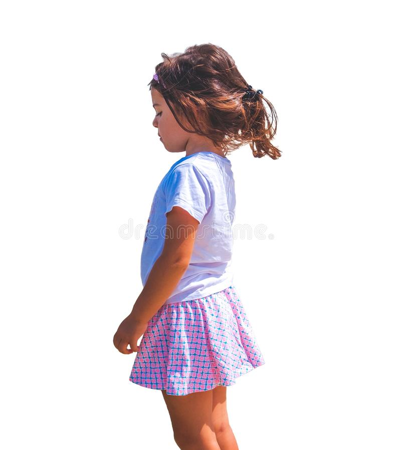 Sad children emotion isolated side view female baby girl background royalty free stock photo