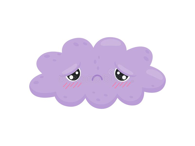 Sad cloud on white background. Cloudy concept. Weather forecast and funny emotion. Meteorology and season. Features weather and cute cartoon face. Vector flat royalty free illustration