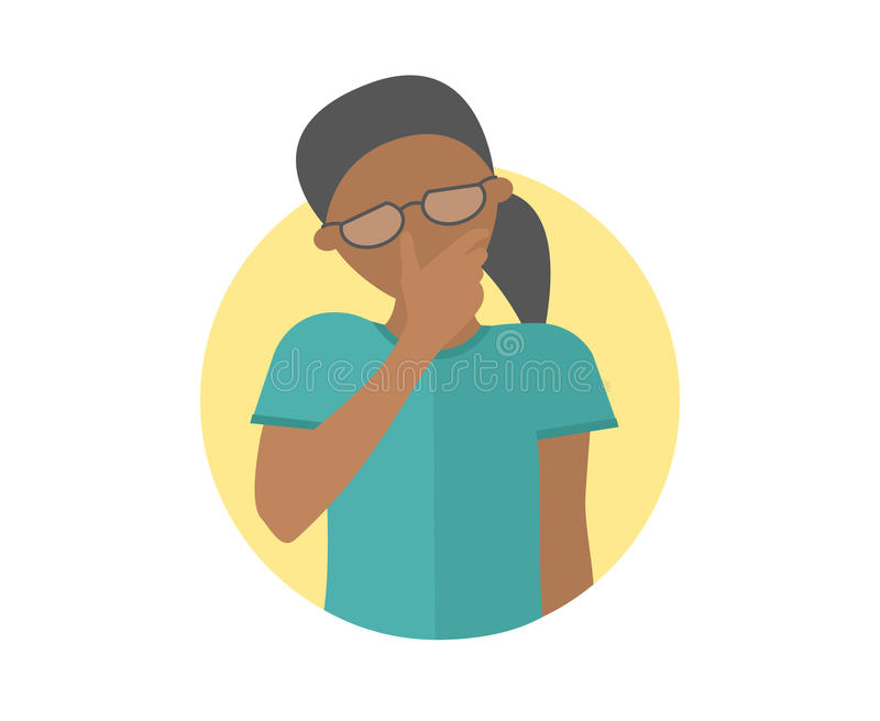 Sad, crying, depressed black girl in glasses. Flat design icon. Pretty woman in grief, sorrow, trouble. Simply editable isolated royalty free illustration