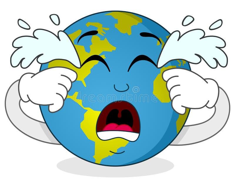 Sad Crying Earth Cartoon Character Stock Vector