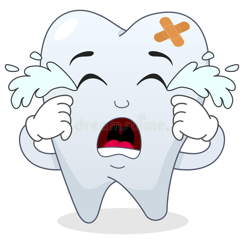 1 Toothed Cartoon Characters : Sad crying sick tooth cartoon character stock vector