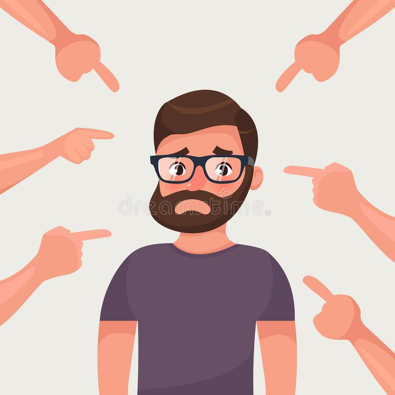 Sad, depressed, ashamed man surrounded by hands pointing him out with fingers. Social disapproval blame and accusation concept. Flat style character vector royalty free illustration