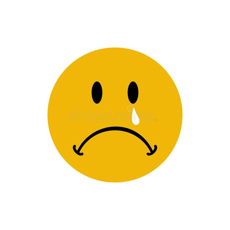 Sad Depressed and sad emoticon with tear on face - Vector royalty free illustration