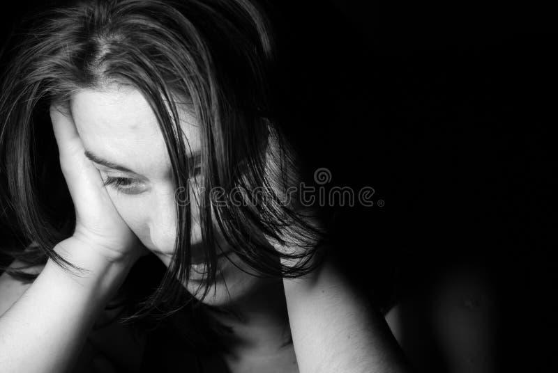 Sad depressed girl. Black and white