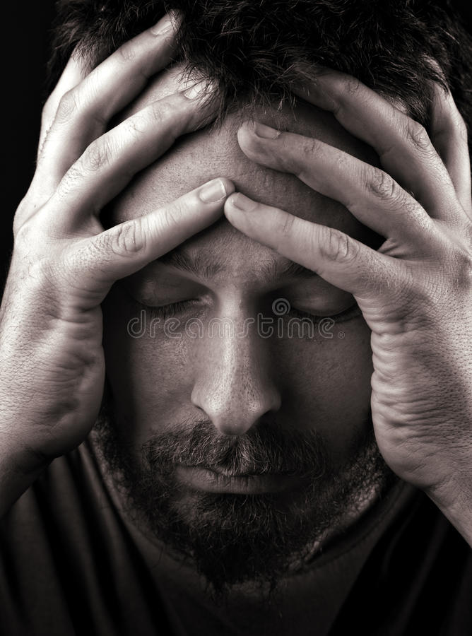 Sad depressed and lonely man royalty free stock photo