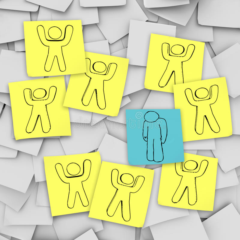 Download Sad Depressed Person Stands Alone - Sticky Notes Stock Illustration - Image: 11431992