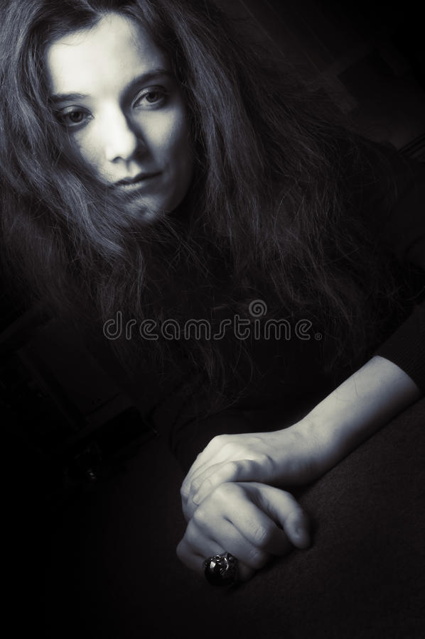 Sad depressed woman. Close up of a sad ,depressed woman royalty free stock photo