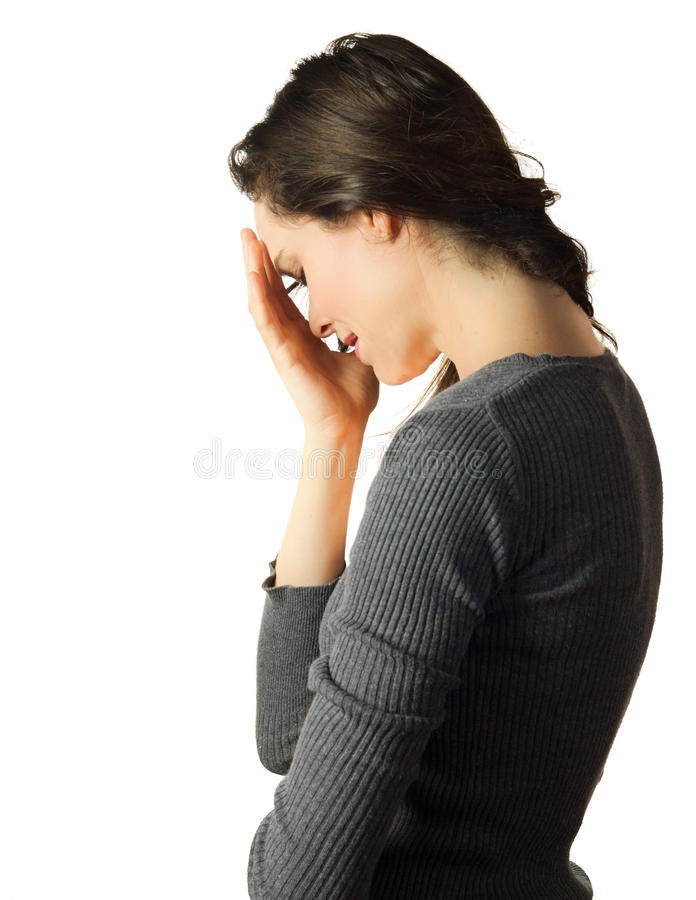 Sad and depressed woman crying royalty free stock photography