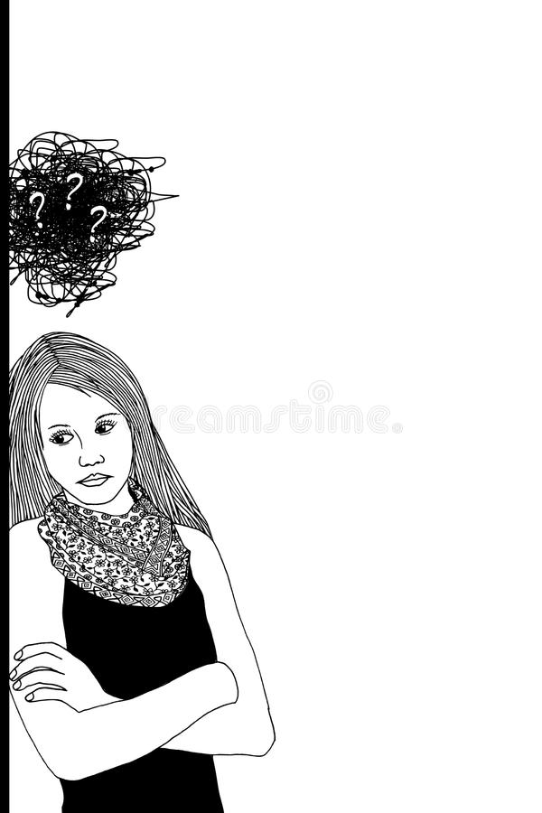 Sad & depressed young woman stock illustration