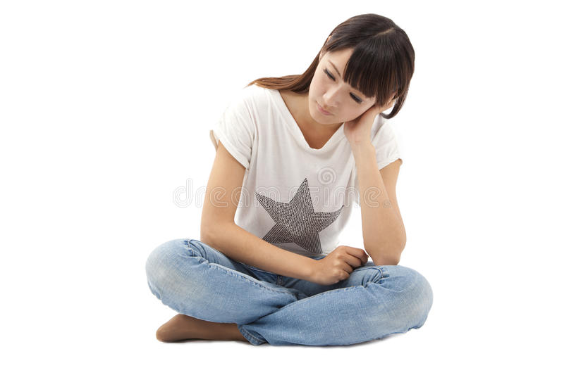 Download Sad And Depression Young Woman Stock Image - Image of loss, blue: 24813903