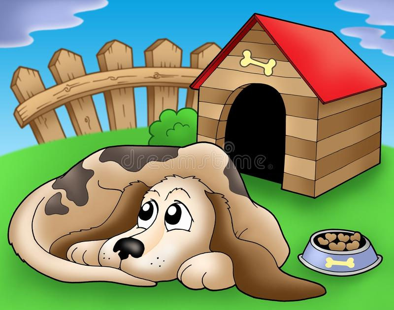 Download Sad Dog In Front Of Kennel 1 Royalty Free Stock Photography - Image: 9542027