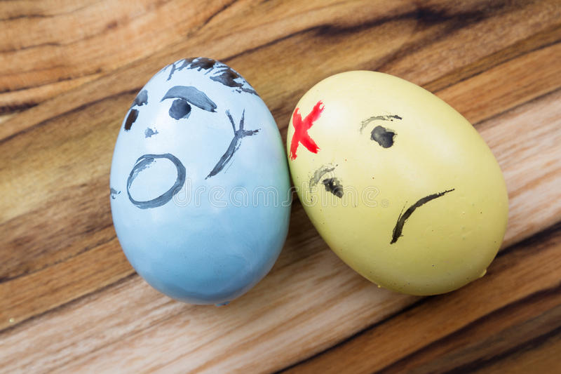 Sad easter eggs royalty free stock photography