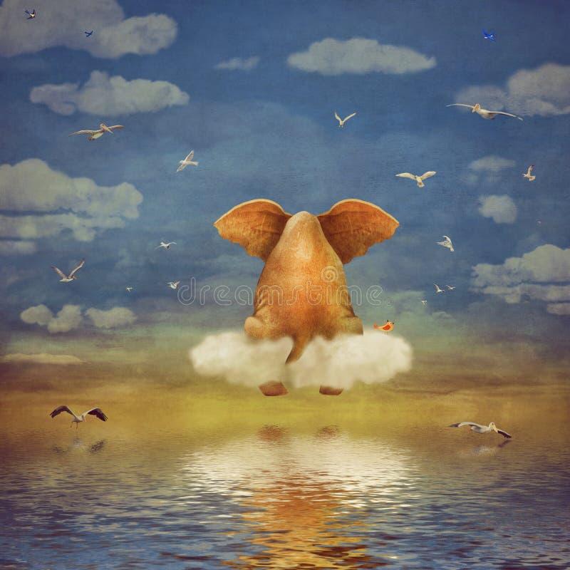 Sad elephant sitting on cloud royalty free illustration