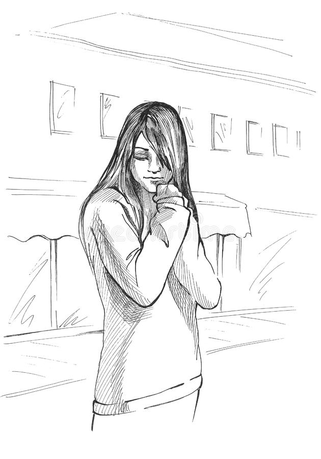 Sad emo kid stock photo