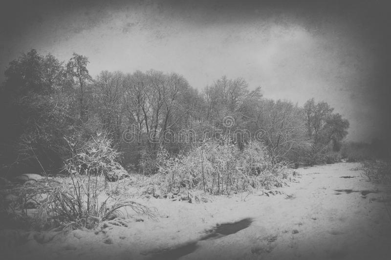 Sad, empty, lonely, morning, with the road and snow at the begin royalty free stock photos