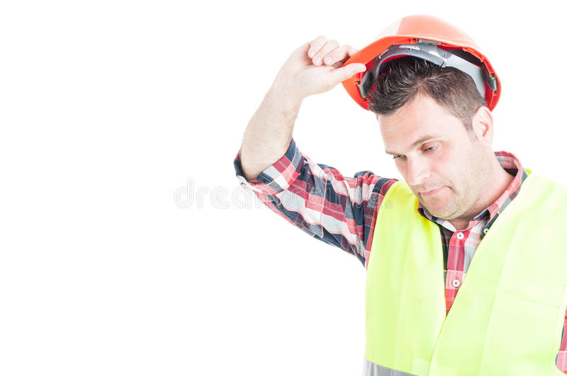 Sad engineer giving up work as failure concept stock photos
