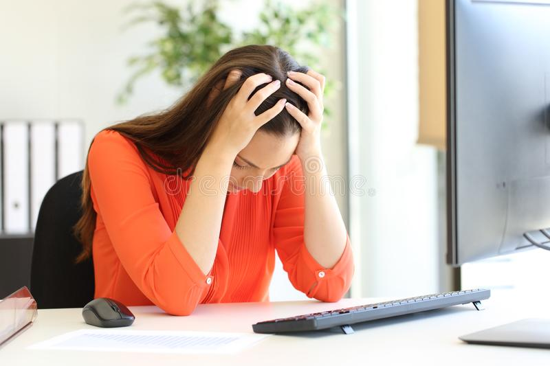 Sad entrepreneur complaining after bad news at office royalty free stock photos
