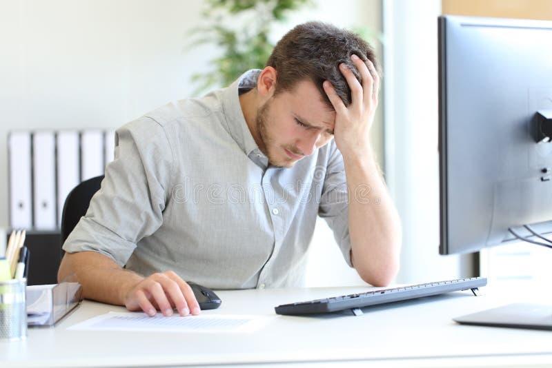 Sad entrepreneur complaining looking chart royalty free stock image