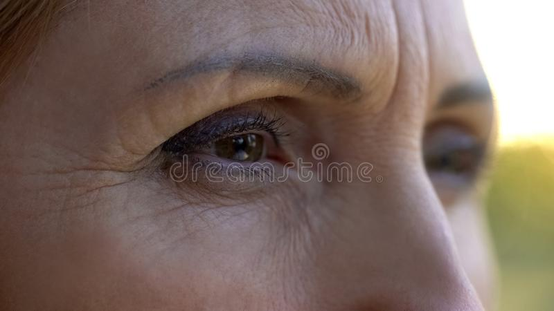 Sad eyes of mature woman, lady thinking over life difficulties, social insurance royalty free stock photo