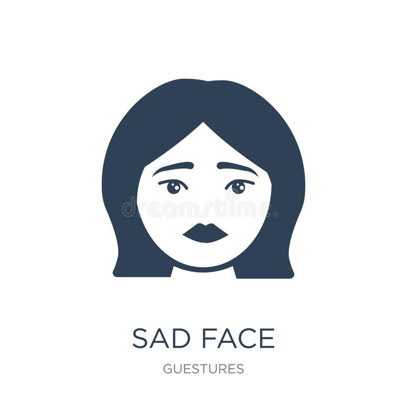 Sad face icon in trendy design style. sad face icon isolated on white background. sad face vector icon simple and modern flat. Symbol for web site, mobile, logo vector illustration