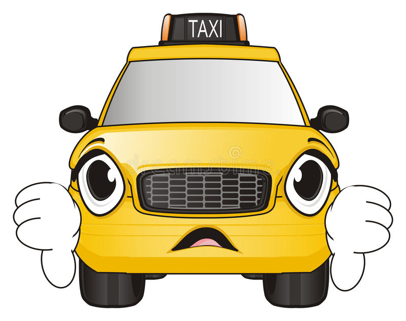 Sad face of taxi stock illustration. Illustration of