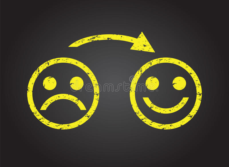 Sad face to a happy face royalty free illustration