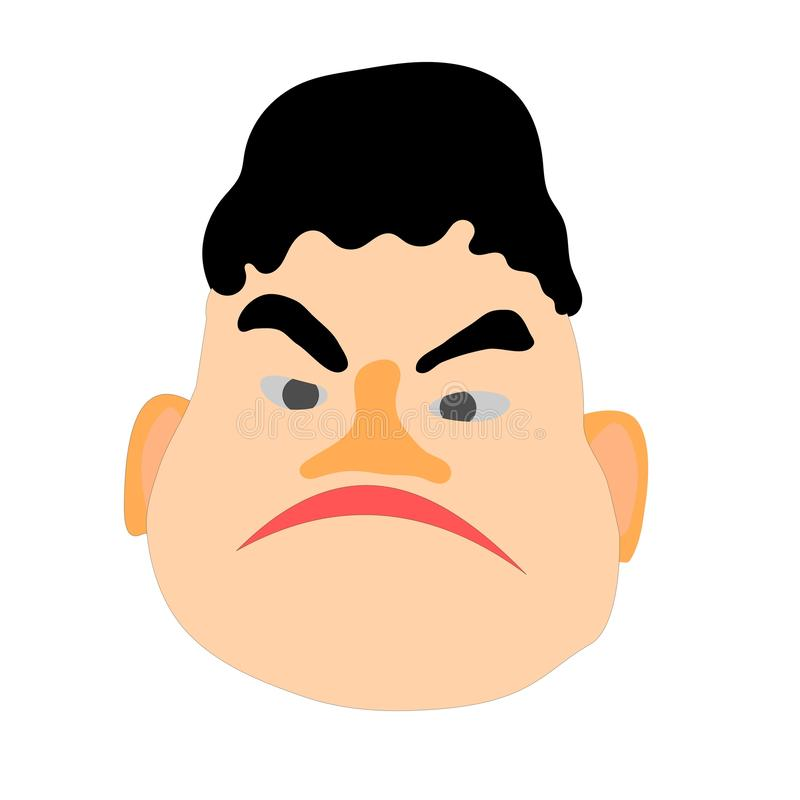 Face of a young man. Comic character vector head. Sad face of a young man. Comic character vector head royalty free illustration