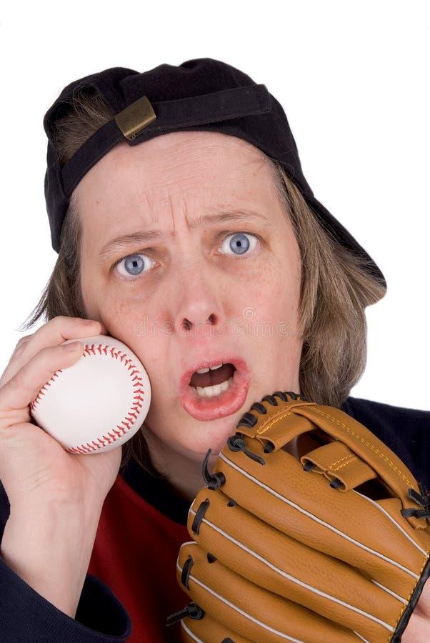 Sad female baseball fan royalty free stock images