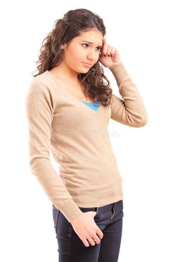Sad female teenager stock photo