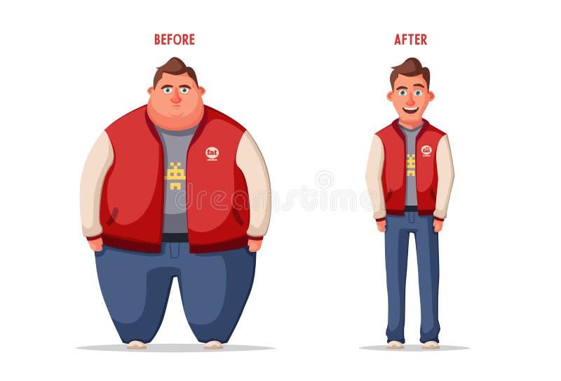SAD fet man Sjukligt fett tecken Fatboy den främmande tecknad filmkatten flyr illustrationtakvektorn royaltyfri illustrationer