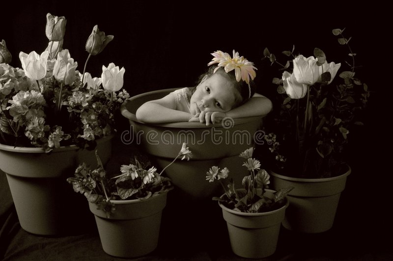 Download Sad flower girl stock image. Image of young, color, daisy - 1048057