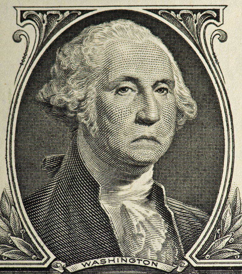 Sad George. A sad George Washington because of the economy stock photo