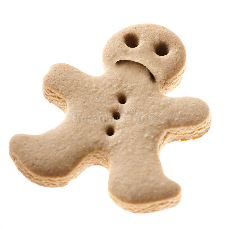 Sad Gingerbread man cookie royalty free stock images