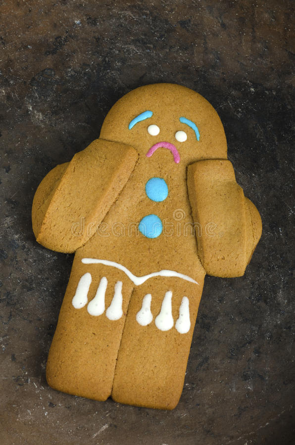 Sad gingerbread man on a plate royalty free stock image
