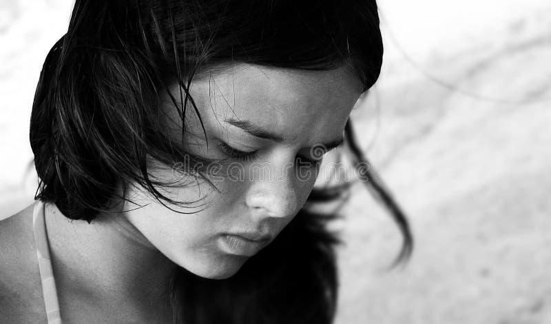 Sad girl. Black and white photo of beautiful sad girl