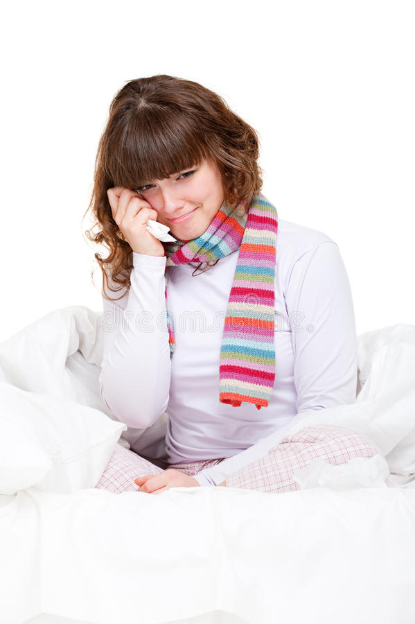 Download Sad girl in the bed stock photo. Image of girl, cold - 13342044