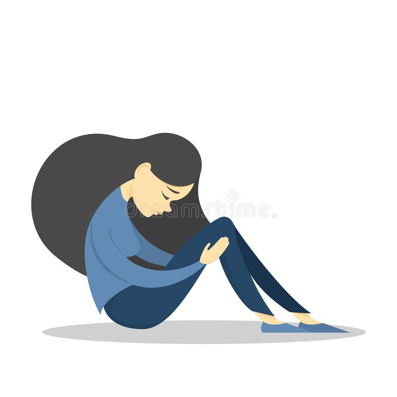 Sad girl in depression . Woman in sadness. Grief royalty free illustration