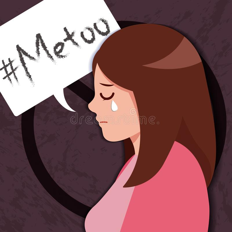 Sad girl by Sexual harassment. Sad girl of me too by Sexual harassment royalty free illustration