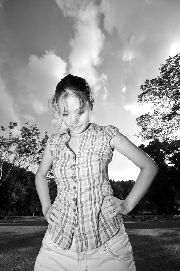 Sad Girl in the Park stock photography