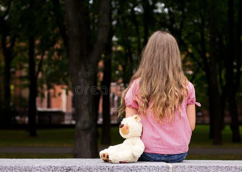 Sad girl portrait. stock photos