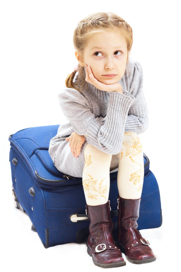 Download Sad girl with suitcase stock photo. Image of beautiful - 12277272