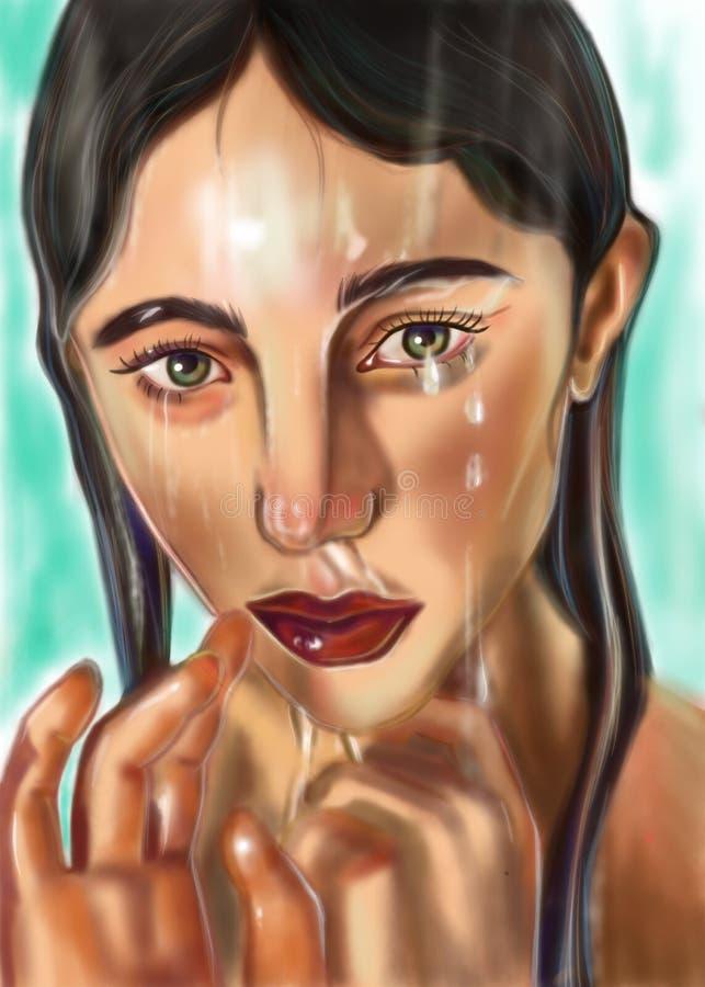 Sad girl under vrdoy royalty free illustration