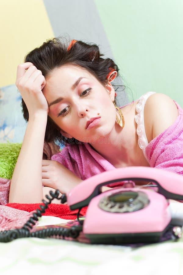 Free Sad Girl With Phone Stock Photography - 12809962